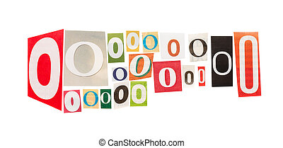 O cut out letter set isolated on white background