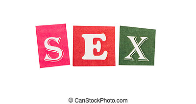 Sex cut out of letters - Word sex cut out of letters set
