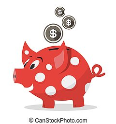 Funky Red Money Pig - Piggy Bank with Dollar Coins Vector Isolated on White Background
