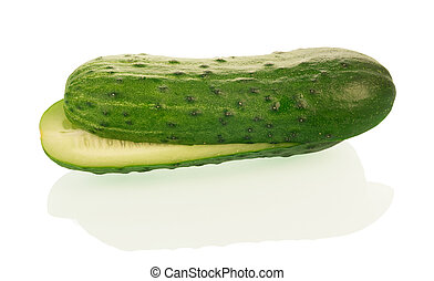 fresh cucumber fruits with cut isolated on white