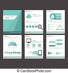 6 Blue Brochure Templates Set