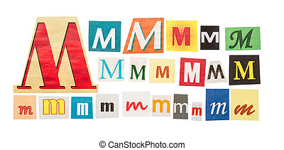 M cut out letter set isolated on white background