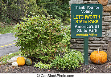 Letchworth State Park Voted Number 1 - Sign At The Enterance...