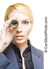 Business Vision - Closeup Face Of A Visionary Business Woman...