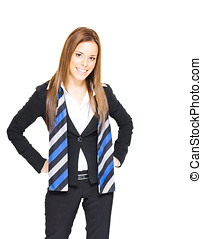 Smiling Business Woman - Confident Gorgeous Brunette...
