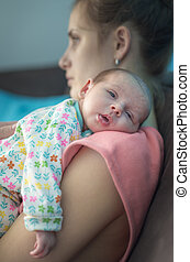Post Natal Depression - Tired Mother Suffering From Post...