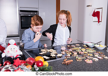 happy family in the kitchen doing the christmas baking