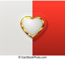 3D Splited Heart - hearth symbol with separate color red and...