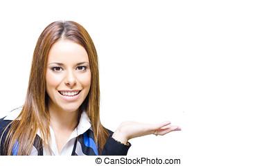 Business Woman Holding Out Empty Hand - Smiling Business...