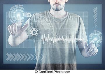 tocco, schermo, tecnologia
