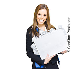 Rich Successful Business Woman Smiling With Money Briefcase...