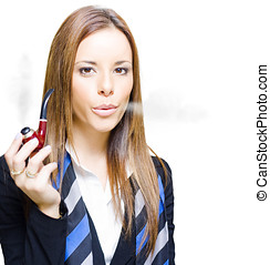 Smoking Hot Business - Studio Photograph Of Young Confident...