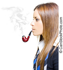 Business Pollution - Woman Smoking Pipe Representing...