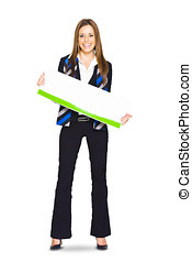 Young Business Person Displaying Blank Board Or Empty Sign...