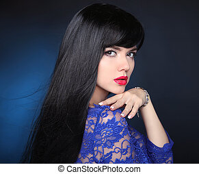 Beauty Model girl with Healthy Black Hair. Beautiful brunette woman. Long smooth shiny straight hairstyle. Hair cosmetics, haircare, extension.
