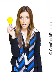 Surprised Business Woman With Lightbulb Solution - Cute...