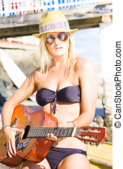 Beautiful Sunglasses Girl Playing Guitar Outdoors In A...