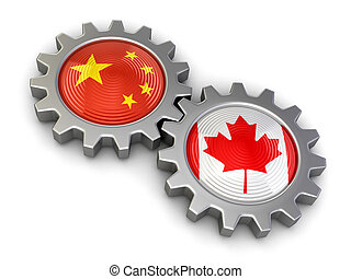 Canadian and Chinese flags on a gears Image with clipping...