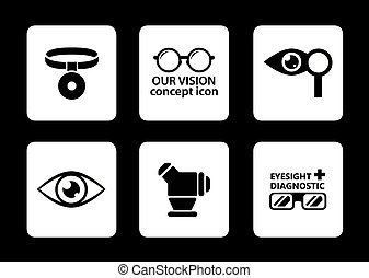 optician icons set - set of six isolated optician icons on...