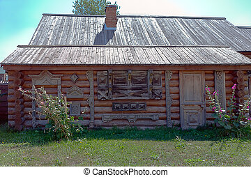 Country cottage front view - rural hut with samples of...