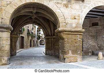 Passage in historical center of Calaceite, Spain