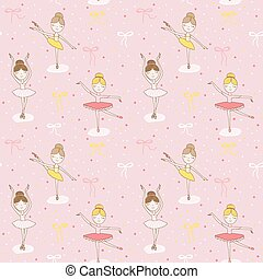 Cute Balerina Background - Seamless Pattern - in vector