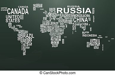 chalkboard text world - illustration of world map with...