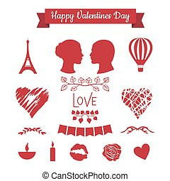 Set of Valentines day icons - Set of Valentines day flat...