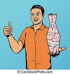 Man fixed vase with duct tape pop art vector - Man fixed...