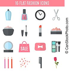 Make up flat icons. Vector illustration for cosmetic design....