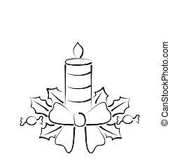 Christmas candle with bow, freehand style - Illustration...