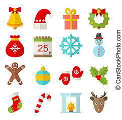 Christmas and Winter Traditional Symbols - Illustration...