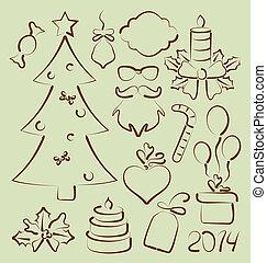 Christmas set elements stylized hand drawn - Illustration...