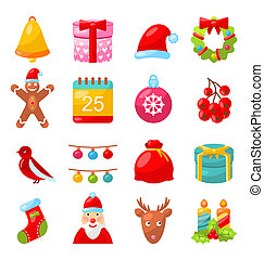 Christmas Colorful Traditional Symbols, Simple Style -...