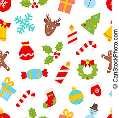 Seamless Pattern with Christmas Traditional Symbols -...