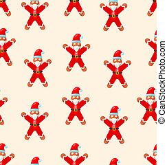 Seamless Christmas pattern with red Santa - raster...