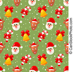 Seamless pattern with Santa Claus and Christmas deer, Xmas...