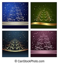 Set Celebration cards with abstract christmas floral tree -...