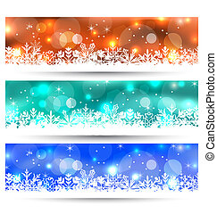 Set Christmas glowing cards with snowflakes - Illustration...