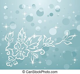 winter background with floral branch - Illustration of...