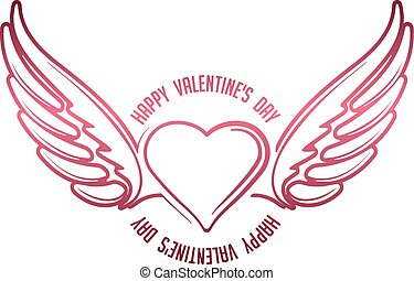 Valentine's decor with heart, wings