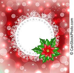 navidad, tarjeta, con, flor, flor de nochebuena,