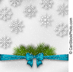 New Year background with bow ribbon and fir branches -...