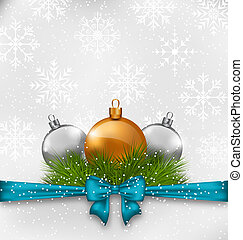 Christmas background with fir twigs and glass balls -...