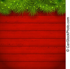 Christmas wooden background with fir twigs - Illustration...