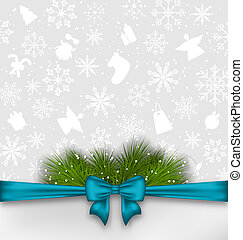 Christmas background with bow ribbon and fir twigs -...