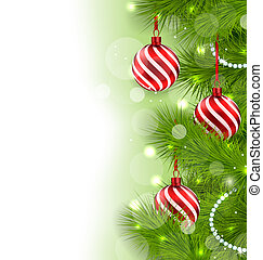 Christmas glowing background with fir branches and glass...