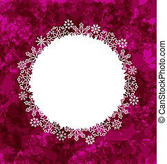 Christmas round frame made in snowflakes on grunge...