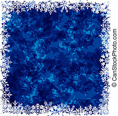 New Year grunge background, frame made in snowflakes -...
