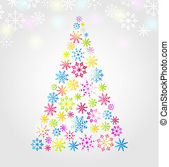 Christmas pine made of colorful different snowflakes -...